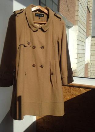 Пальто шерстяное теплое кемел