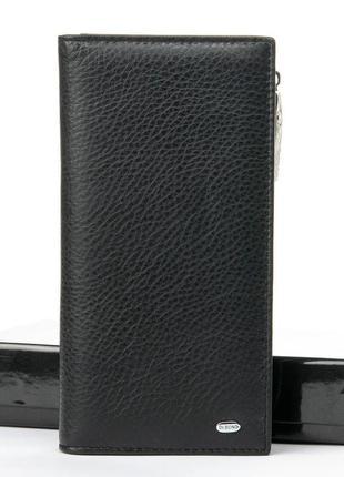 Кожаный черный большой мужской кошелек натуральная кожа