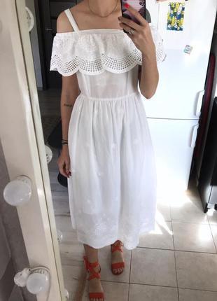 Хлопковое платье на плечи с прошвой, шитьем falmer