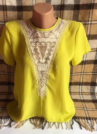 Блуза футболка по шифон с вставкой