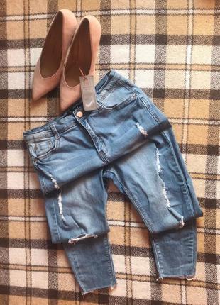 Крутые голубые джинсы скинни узкачи узкие с порезами. 10/38