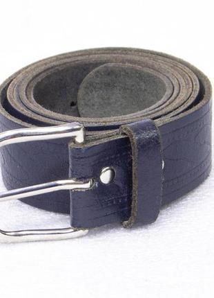 Ремень мужской кожаный синий размер xl-xxl вся длина 135, на т...