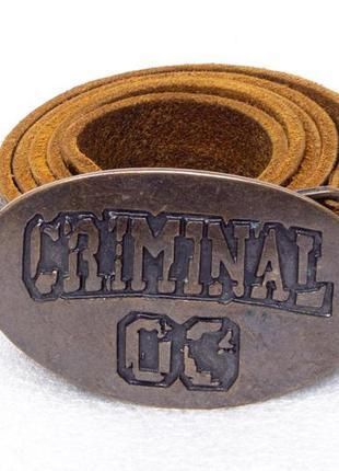 Ремень мужской кожаный criminal  размер l-xl вся длина 116, на...