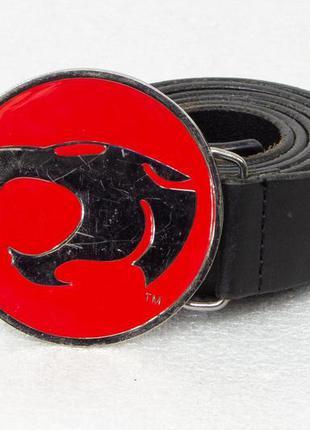 Ремень мужской кожаный с прягой черная пантера размер xl-xxl