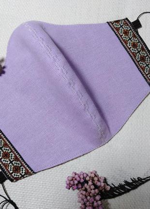 Маска защитная тканевая льняная многоразовая с вышивкой для лица