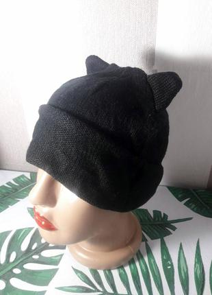 Шапка с ушками шапочка с отворотом