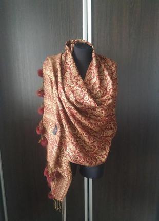 Большой палантин, шарф, натуральный мех песец