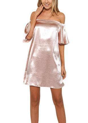 Шикарное шелковое платье со спущенными плечами