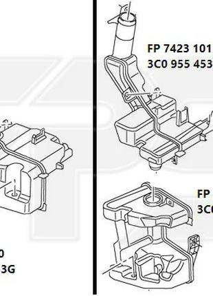 Бачок омывателя VW PASSAT 11-15 EUR (B7) для авто с фарами ксенон