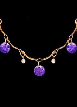 🏵️нежное ожерелье бусы цветы с кристаллами, новое! арт. 8256