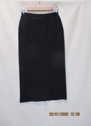 Трендовая юбка карандаш в рубчик/юбка с разрезом и карманами/с...