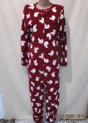 Теплый махровый слип/пижама/костюм домашний/кигуруми/принт бел...