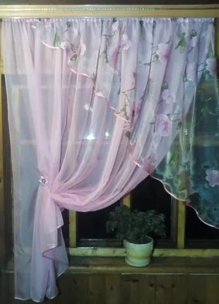 Кухонная занавеска Фая розовая роза(правая)