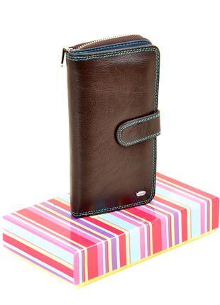 Женский вместительный кожаный кошелек Dr.Bond коричневый, синий