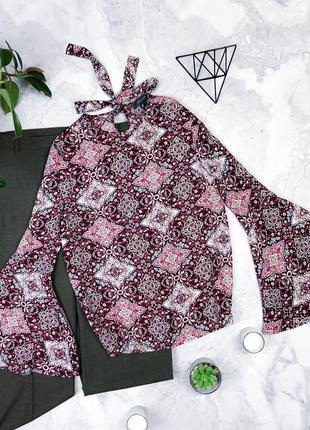 Шикарная блуза в королевский принт рукава воланы размер 10-12(...