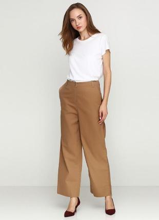 Cos коричневые демисезонные клеш брюки , штаны, 100 % хлопок