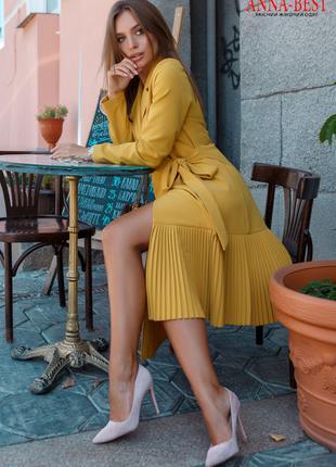 Горчичное платье-пиджак демисезон,  размер S