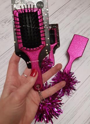 Расческа, щетка для волос с брелком, глиттер primark, испания