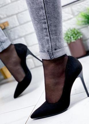 ❤ женские черные туфли эко-замша ❤