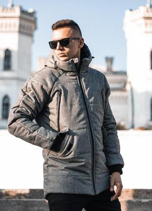 Тёплая зимняя мужская куртка парка серая с капюшоном и карманами
