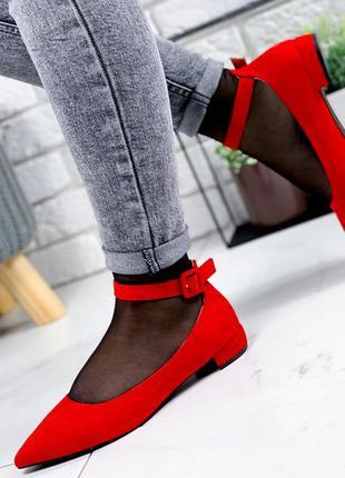 ❤ женские красные туфли  эко-замша❤