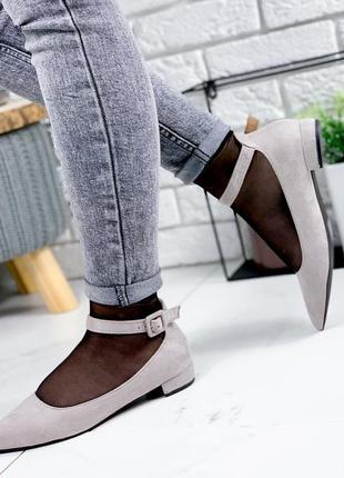 ❤ женские серые туфли эко-замша ❤