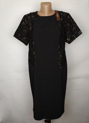 Платье новое плотное шикарное с кружевными вставками uk 16/44/xl