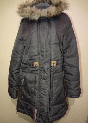 Демисезонное пальто/куртка/парка zara размер l