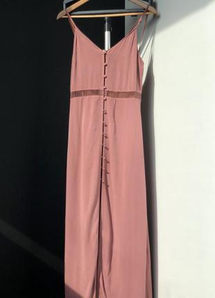 Платье в пол h&m 36 s h&m розовый нюд нюдовый цвет , цвета пудры
