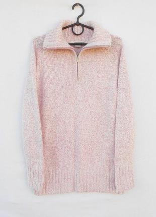 Теплый шерстяной вязаный свитер под горло с ангорой с длинным ...