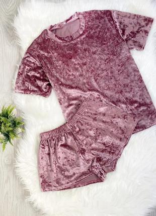 Футболка и шорты, темно розовая пижама s-m