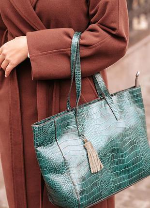 Зеленый шоппер сумка изумрудная повседневная классическая