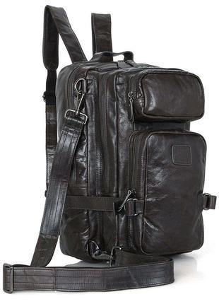 Кожаный мужской рюкзак сумка трансформер стильный вместительны...