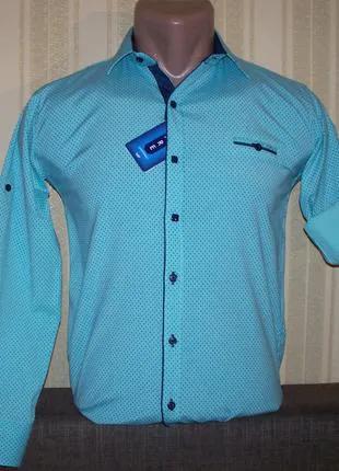 Рубашка приталенная для мальчиков подростков 140,146,152,158