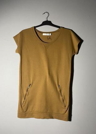 Горчичное трикотажное платье свитшот