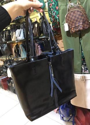 Кожаная сумка в черном цвете