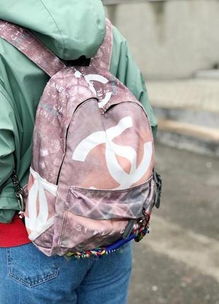 Рюкзак бежевый с розовинкой