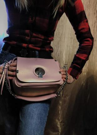 Женская сумка клатч в пудровом цвете , кожаные сумки