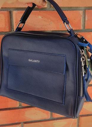 Кожаная сумка , клатч натуральная кожа синий цвет