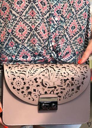 Клатч натуральная кожа италия пудра , кожаные сумки