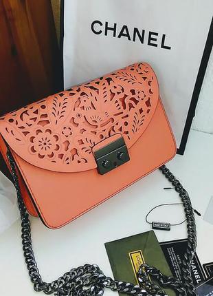 Клатч натуральная кожа италия корал , кожаные сумки