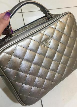 Женская кожаная сумка клатч натуральная кожа бронза