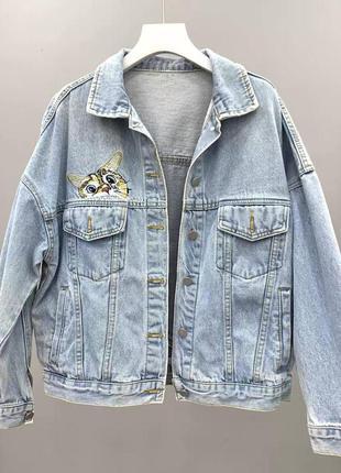 Крутая джинсовка/джинсовая куртка с нашивкой котика 😻😻😻