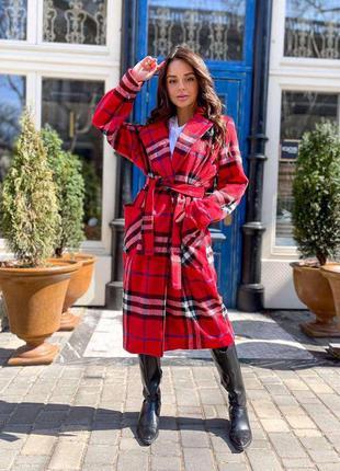 Кашемировое длинное пальто в клетку🌷