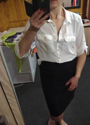 Оригинальная блузка молочного цвета, рукав 3/4, размер 40
