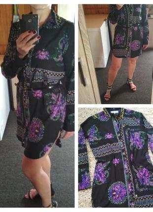 Красивое платье рубашка в цветочный принт, р. 10-14