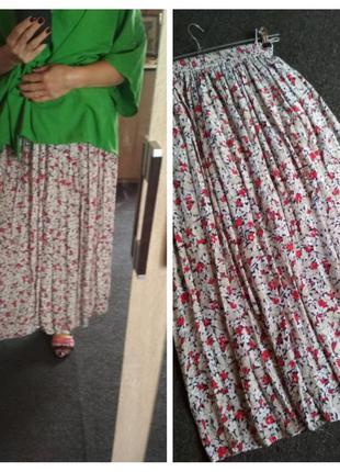 Актуальная юбка макси в цветочный принт, вискоза, р. 38