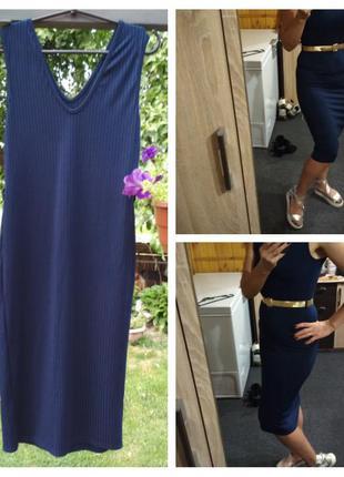 Стильное платье в рубчик, р. 8-12