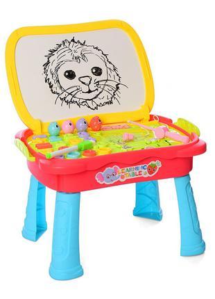 Детский игровой столик 0503MR мольберт и рыбалка (Красный)
