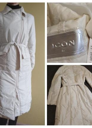 Шикарное стильное пальто ,плащь стеганное молочного цвета, ico...